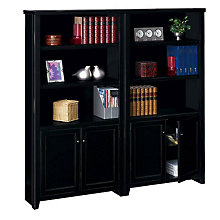 "Tribeca Loft Black 10 Shelf Bookcase with Doors Set - 70"" H, OFG-BC1044"