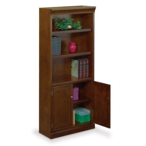 One adjustable shelf featured behind doors