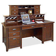 Tribeca Loft Cherry Computer Desk with Hutch, OFG-DH1089