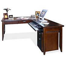 Tribeca Loft Cherry L-Desk and Rolling File Set, OFG-LD1112