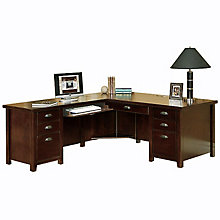 Tribeca Loft Cherry L-Desk with Left Return, OFG-LD1179