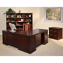Fulton Espresso L-Desk Office Group with Lateral and Bookcases, 8826921