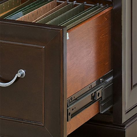 File drawer with metal glides