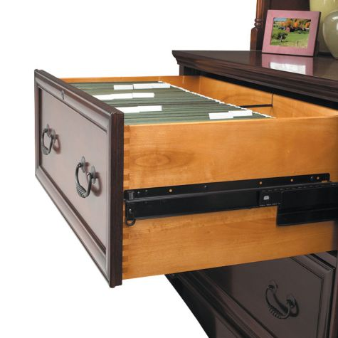 Full extension drawer slides on lateral file