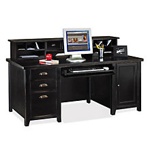 Tribeca Loft Black Computer Desk with Hutch, OFG-DH1073
