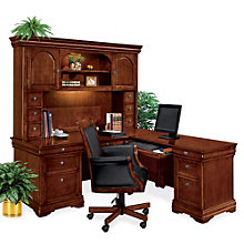 Executive L-Desk with Right Return and Hutch, OFG-LD1093