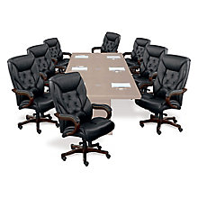Set of Eight Faux Leather Executive Chairs, 8802417