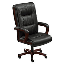 Set of 14 Wood Trimmed Big and Tall Leather Executive Chairs, OFG-CS0008