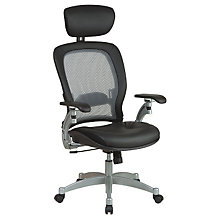 High Back Mesh and Leather Ergonomic Executive Chair with Headrest, 8802810