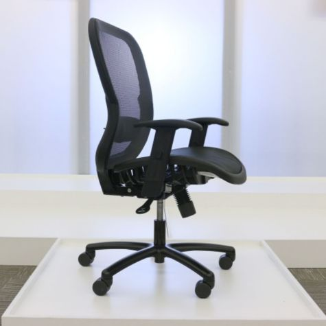 Adjustable seat height shown raised