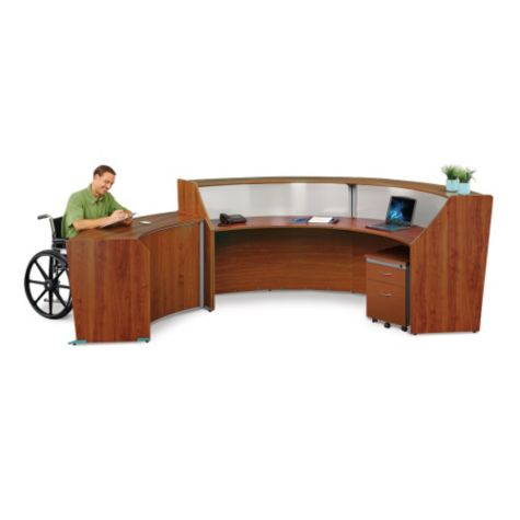 ADA desk with double reception unit and pedestal