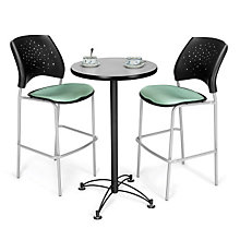 Cafe Table with Two Stars Breakroom Stools, OFG-TS1014