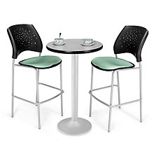 Flip-Top Cafe Table with Two Stars Breakroom Stools, OFG-TS1015