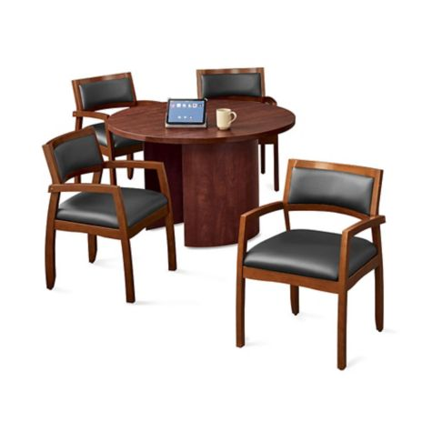 Four chairs shown around a table