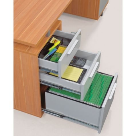 Two box drawers and file drawer
