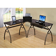 l shaped glass top computer desk