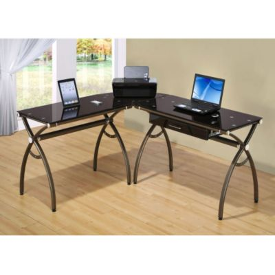 Techni Mobili Chocolate Glass L Shaped Computer Desk