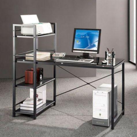 Gray glass computer desk by techni mobili for Mobili computer