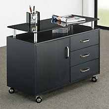 Techni Mobili Glass Top Mobile File Cabinet, RTP-10219