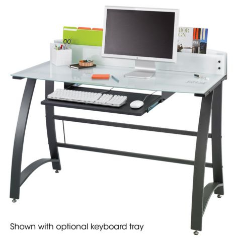 Desk shown with optional keyboard tray