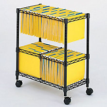 Mobile Two Tier Wire File Cart, SAF-5278BL