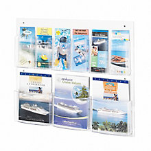 Economical Clear Plastic Nine Pocket Magazine and Pamphlet Rack, 8828222