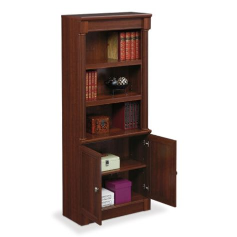 Bookcase with lower doors open