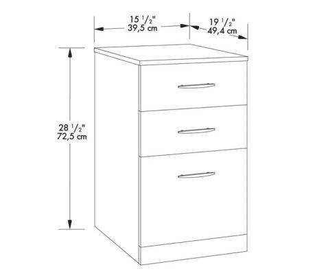 3-Drawer Pedestal Specs