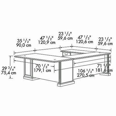 U-desk dimensional drawing