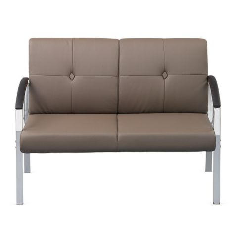 Front view of loveseat (with Cocoa arms)