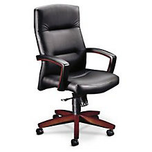 High Back Leather Executive Chair with Wood Arms, HON-5001