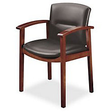 Wood Frame Leather Guest Chair with Arms, HON-5003