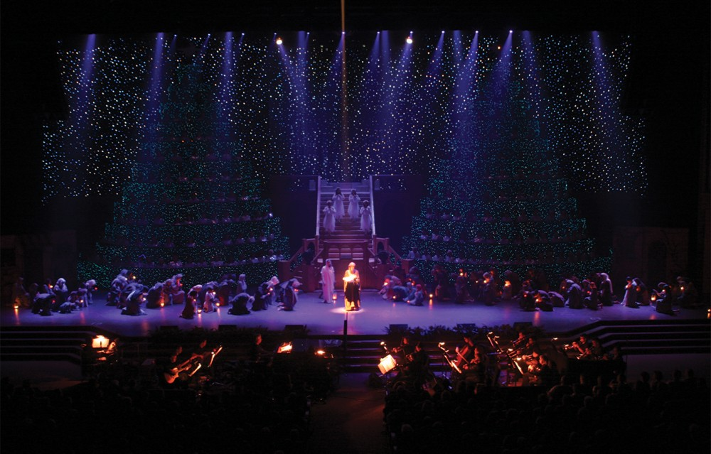 Fiber Optic Curtains Create A Snow Effect For Christmas Show