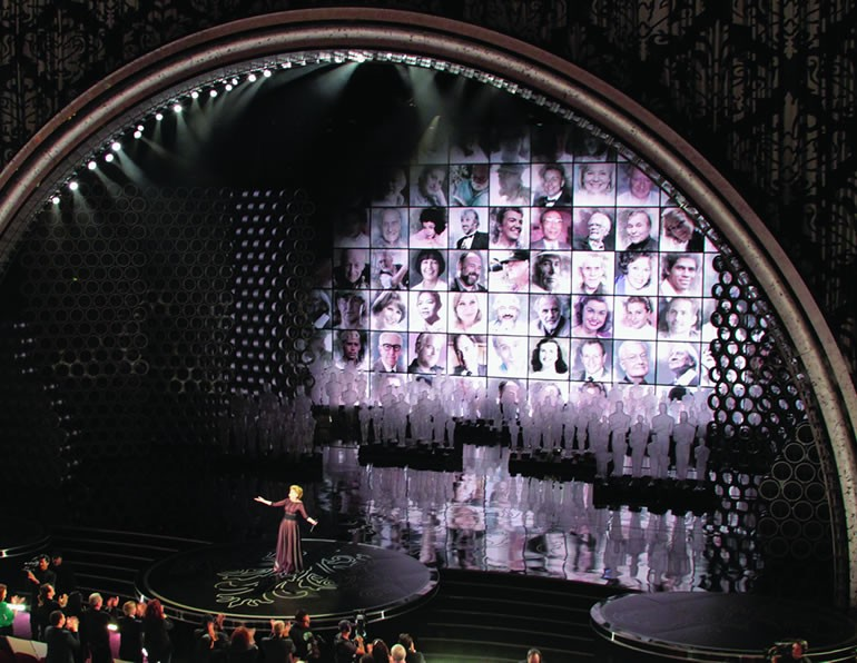 black rear projection screen diffusing academy awards video wall projection