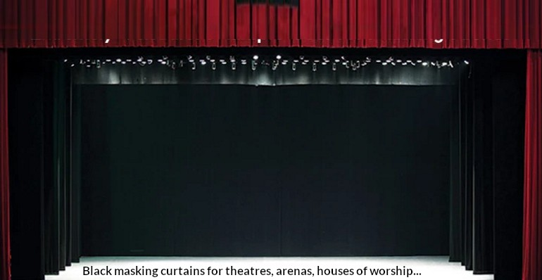 black-masking stage curtains with a red valance