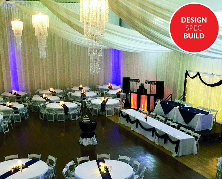 elegant party space with curtains and swags