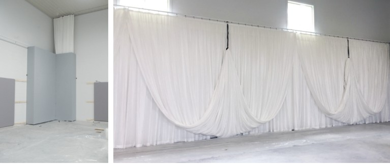 folding panels hide drapes and swags when not in use