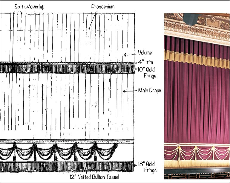 Hippodrome Theatre main curtain and pencil sketch of main curtain design
