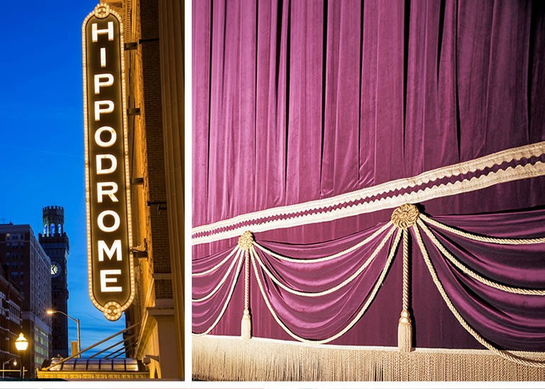 Baltimore's Hippodrome Theatre main curtain and box curtains