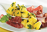 Marinated pineapple and charcuterie