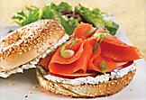 Bagel with smoked salmon, apple and two cheeses