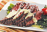Grilled flank steak with béarnaise sauce