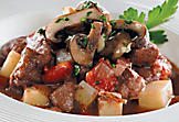 Braised beef with mushroom garnish