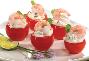 Cheese and shrimp-stuffed cherry tomatoes
