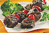 Beef skewers with red peppercorn and cherry tomatoes