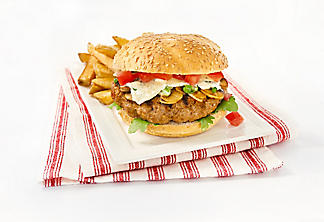 Beef burgers with blue cheese