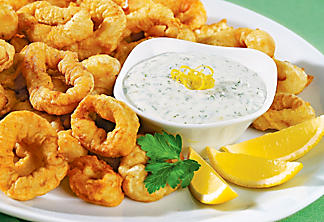 Fried calamari with lemon-herb sauce