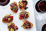Chicken liver and cranberry compote canapés