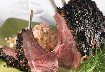 Rack of lamb with a mushroom garnish