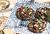 Barbecued stuffed mushrooms